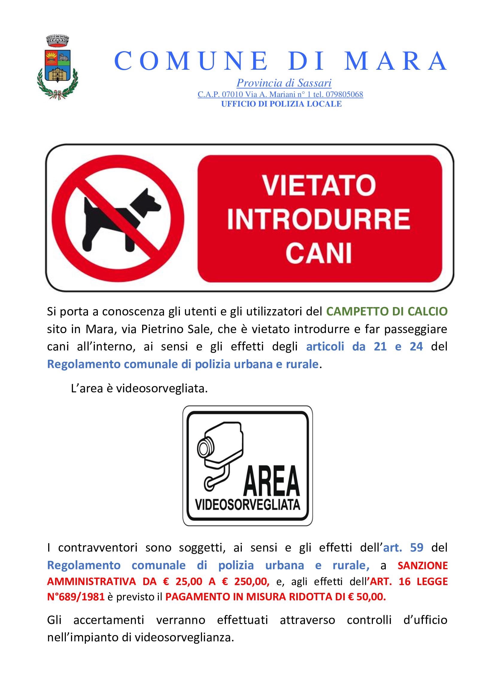 DIVIETO INTRODUZIONE CANI NEL CAMPETTO DI CALCIO DI VIA P.SALE